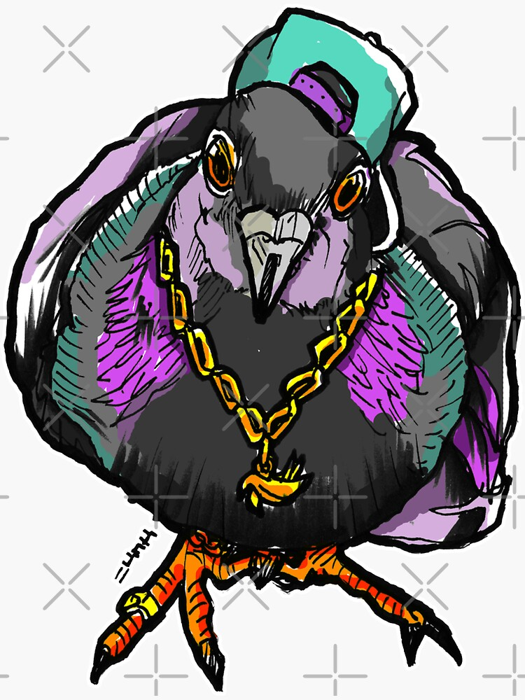 Homie Pigeon (Colorful 90's) RedBubbleArtParty by sketchNkustom