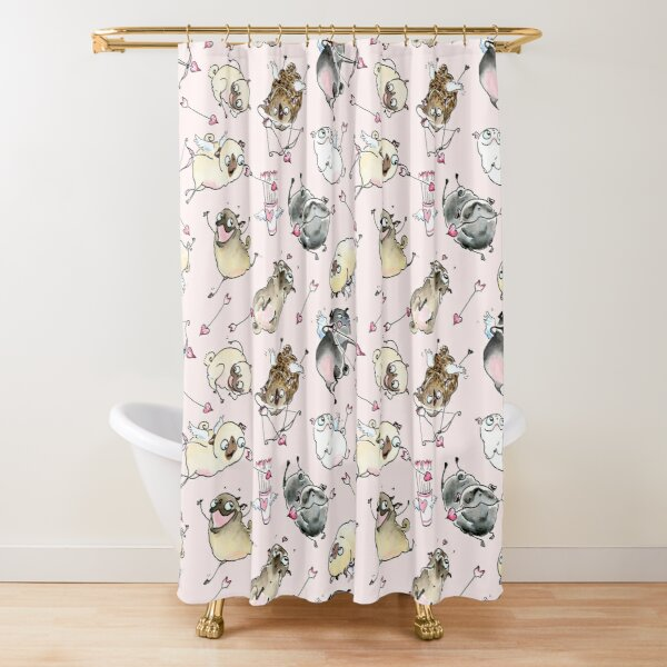 Love is in the Air - Cute Pug Cupids Shower Curtain