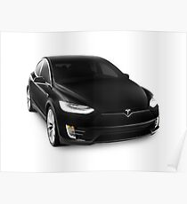 Black 2017 Tesla Model X luxury SUV electric car isolated on white art photo print Poster