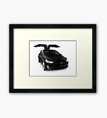Black 2017 Tesla Model X luxury SUV electric car falcon doors art photo print Framed Print