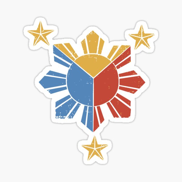 3 Sterne, 1 Sonne Vintage philippinische Flagge Sticker