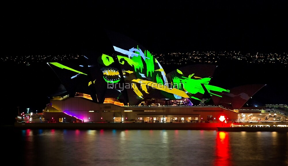 Shark Sails Too - Sydney Opera House - Sydney Vivid Festival by Bryan Freeman