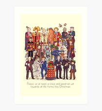 The party doesn't start until the Doctor walks in...twelve times Art Print
