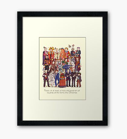 The party doesn't start until the Doctor walks in...twelve times Framed Print