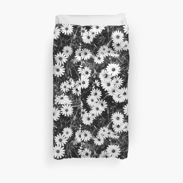 Flowers white and black Duvet Cover