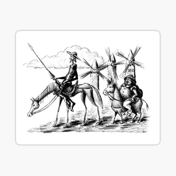 Don Quixote and Sancho Panza ink drawing Sticker