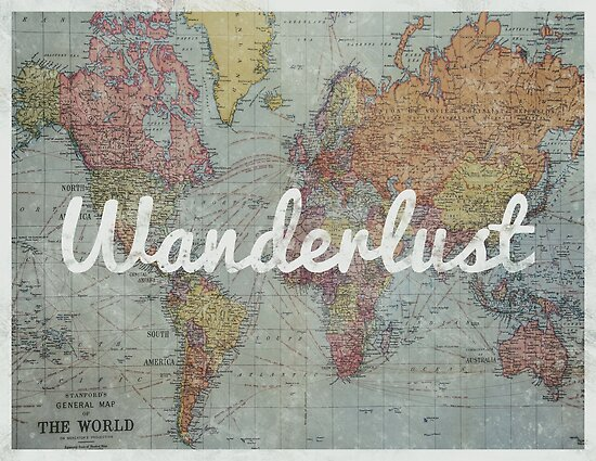 Wanderlust on Vintage World Map\