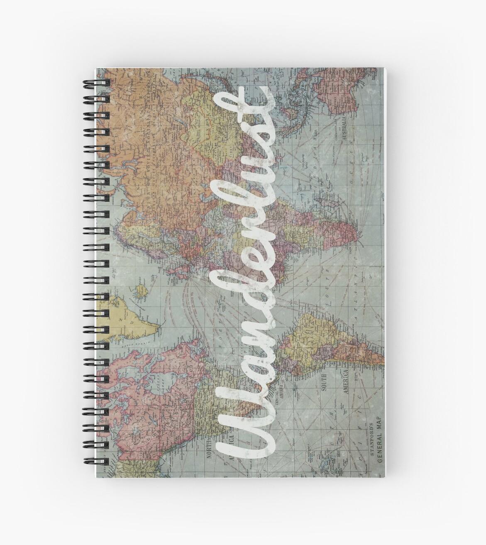 Cuadernos de espiral wanderlust en vintage world map de leah wanderlust en vintage world map de leah biernacki gumiabroncs Gallery