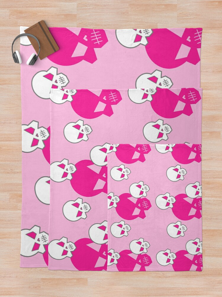 Alternate view of Pink Skeleton Skulls Street Skater Punk Wear Pattern Throw Blanket