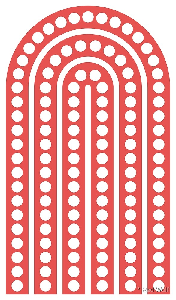Geometric Pattern: Arch Dot: White/Red by * Red Wolf