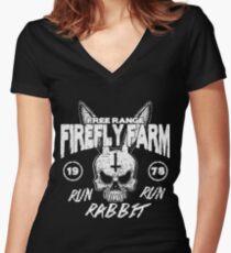 Firefly Farms run rabbit run Women's Fitted V-Neck T-Shirt