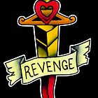 Dagger and Revenge banner tattoo flash by dead82