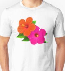 Hawaiian Hibiscus/Hot Pink/Orange Unisex T-Shirt