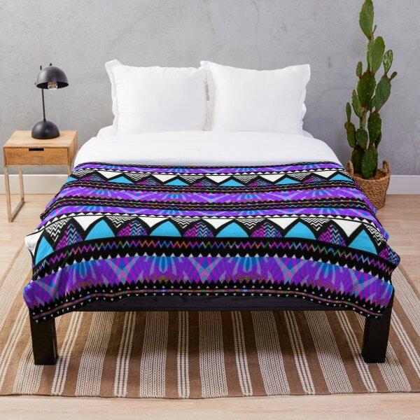 purple Aztec Throw Blanket