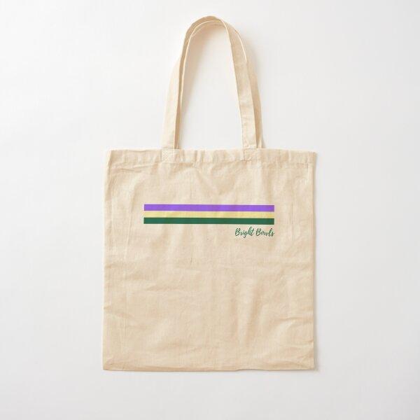 Purple yellow green stripes Cotton Tote Bag