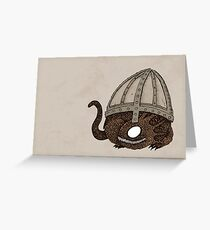 Baby Dragon Under Helmet Greeting Card