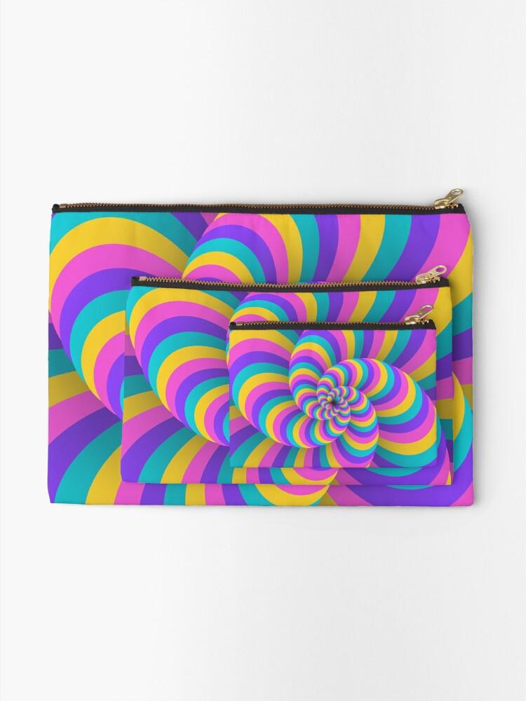 Alternate view of Lollipop Swirls Optical Illusion Best Cool Pastel Pink Art Zipper Pouch