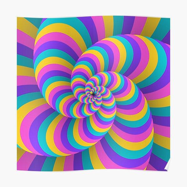Lollipop Swirls Optical Illusion Best Cool Pastel Pink Art Poster