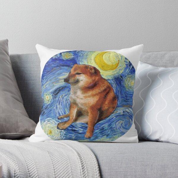 Cheems Stary Night Throw Pillow