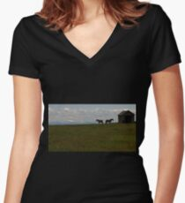 Alberta Panorama - God's Country Women's Fitted V-Neck T-Shirt