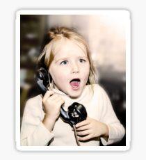 Little emotive girl speaking vintage wired telephon Sticker