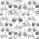 Fahrräder schwarz-weiß Hand gezeichnet print Muster Andrea Lauren von Andrea Lauren