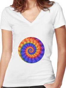 Beautiful Psychedelic Rainbow Spiral  Women's Fitted V-Neck T-Shirt