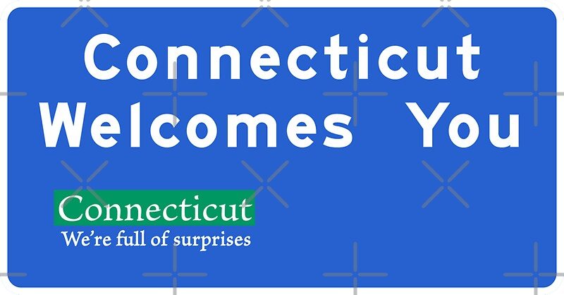 welcomes connecticut road usa redbubble worldofsigns
