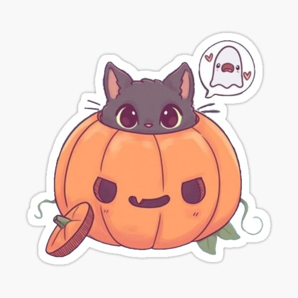 Pumpkin Kawaii Cat Sticker