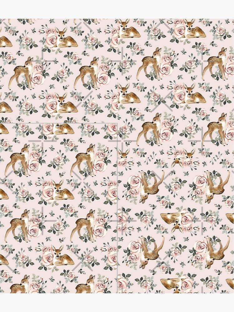 Little Deer With Vintage Roses / Blush  by MirabellePrint