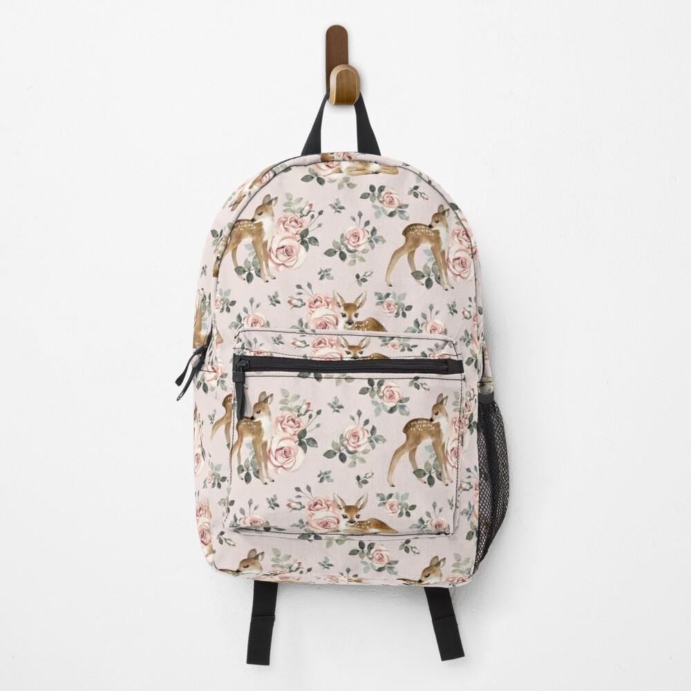 Little Deer With Vintage Roses / Blush  Backpack