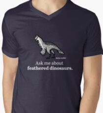Ask Me About Feathered Dinosaurs Men's V-Neck T-Shirt