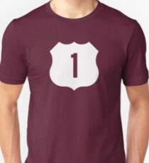 US Route 1 Sign, USA - Contrast Version Unisex T-Shirt