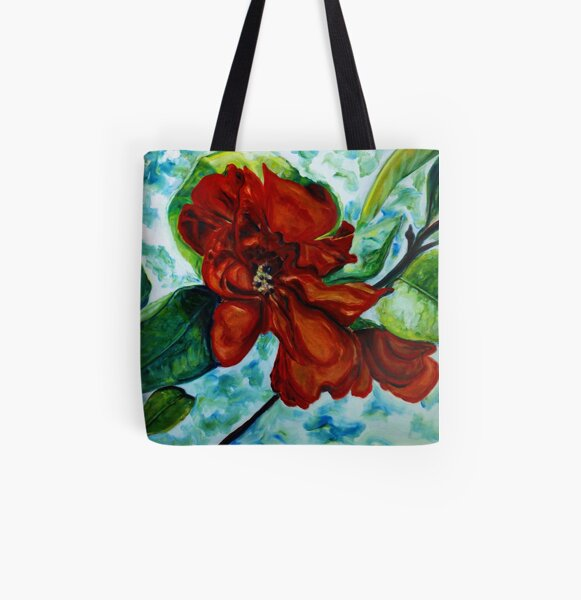 Red Camelia All Over Print Tote Bag