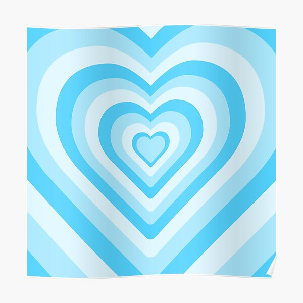 Aesthetic Blue Heart Pattern Poster