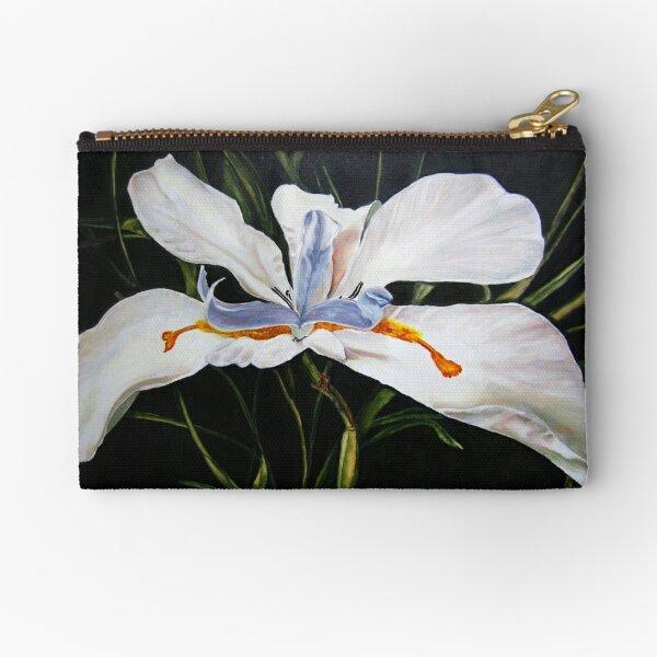 White Lily Zipper Pouch