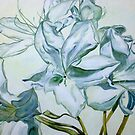 White Rhododendrons by Theresa Comstock