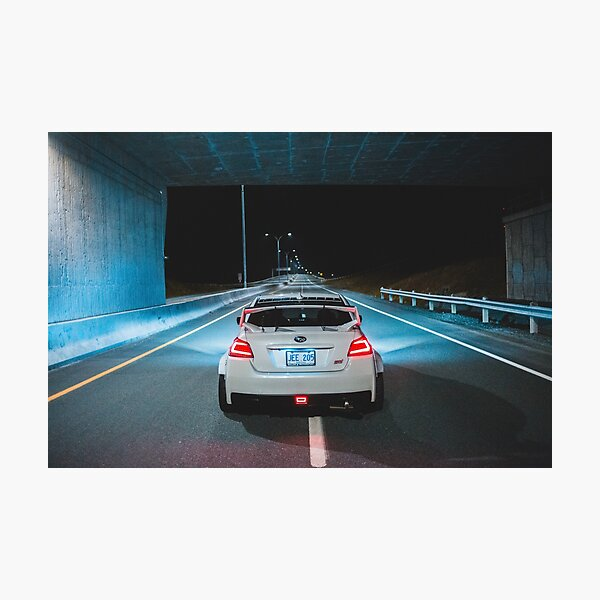 White wrx sti parked on an empty highway Photographic Print