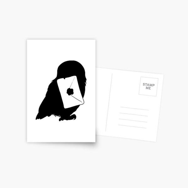 Silhouette de hibou magique et lettre Carte postale