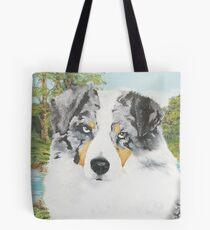 """Rowdy"" Australian Shepherd Dog Portrait Tote Bag"