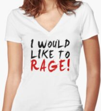 I WOULD LIKE TO RAGE!!! - Grog Strongjaw Women's Fitted V-Neck T-Shirt