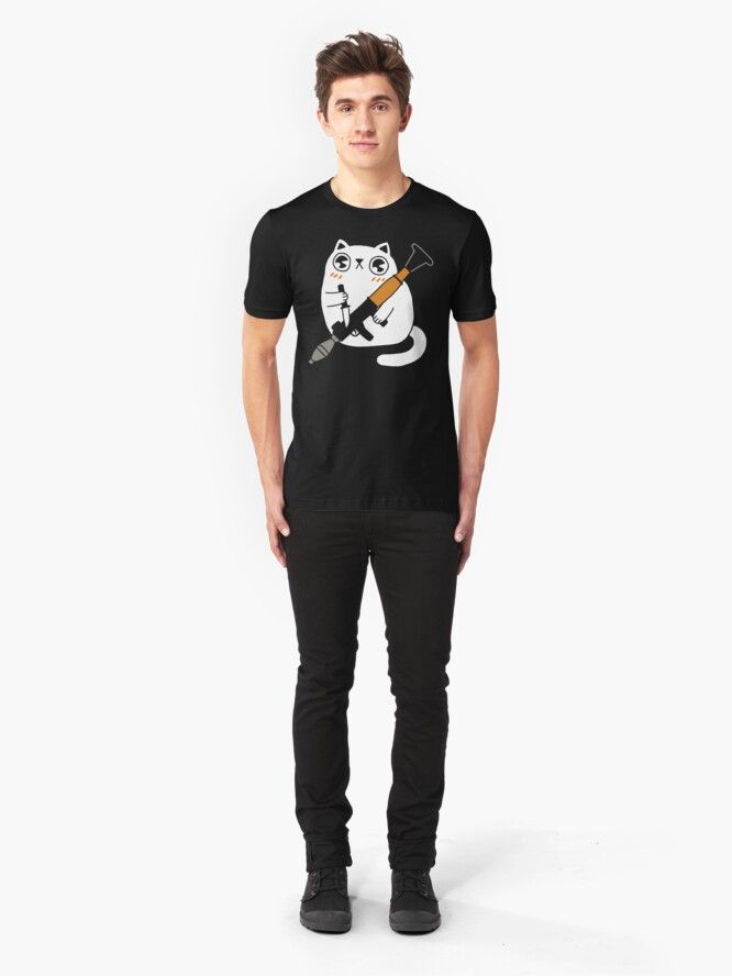 Alternate view of Cuddly Combat Cat Slim Fit T-Shirt
