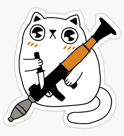 Cuddly Combat Cat Glossy Sticker