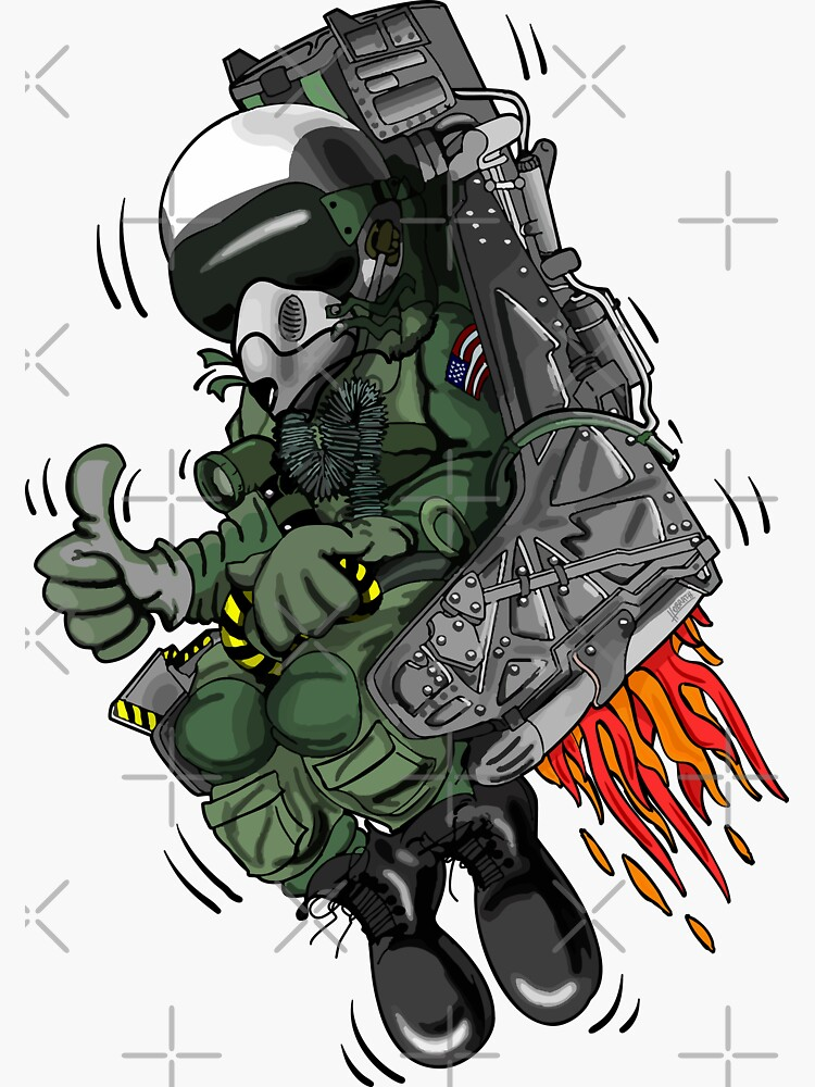 Military Fighter Jet Pilot Ejection Seat Cartoon Illustration by hobrath