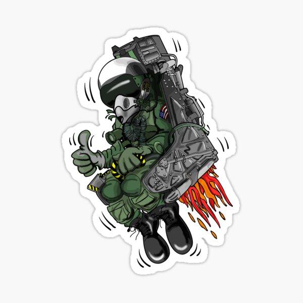 Military Fighter Jet Pilot Ejection Seat Cartoon Illustration Sticker