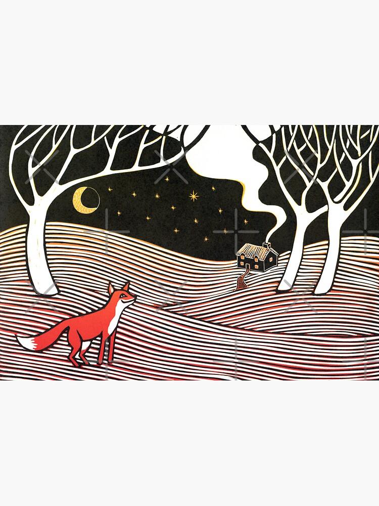 Stargazing - Fox in the Night - original linocut by Francesca Whetnall by Cecca-Designs