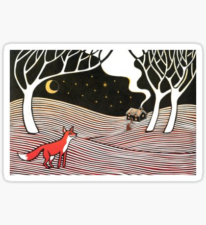 Stargazing - Fox in the Night - original linocut by Francesca Whetnall Sticker