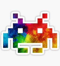 Colour-Burst Space Invader Sticker
