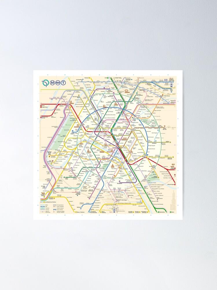 Alternate view of The New Paris Metro Map Poster