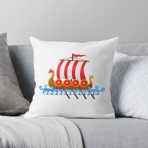 Cartoon Viking Ship Vector Illustration Throw Pillow